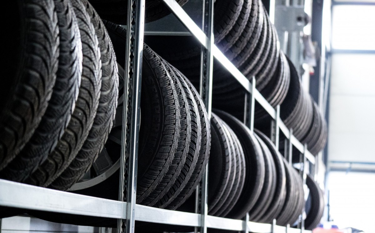 many tires on shelves